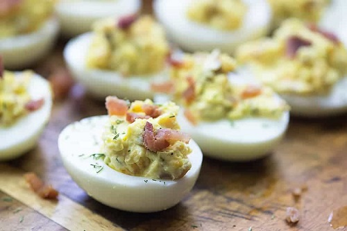 low carb devilled eggs with bacon