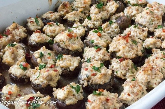 low carb spicy sausage stuffed mushrooms