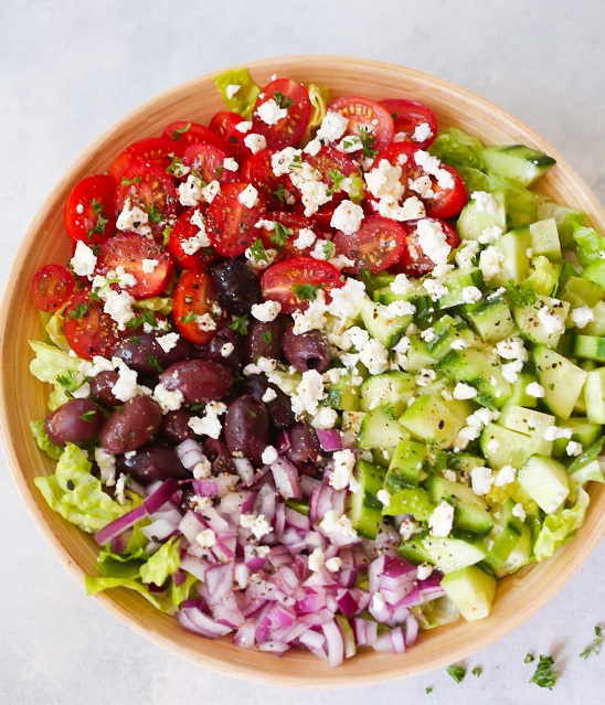 easy Medditerranean chopped salad